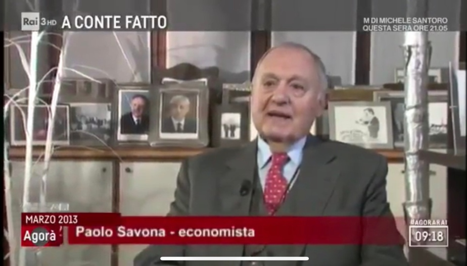 """Savona: """"Con l'Euro, invece che manu militari, L'Europa unita è la realizzazione del piano del ministro nazistaFunk."""""""